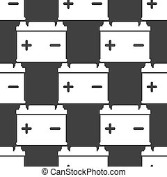 Car battery web icon. flat design. Seamless gray pattern....
