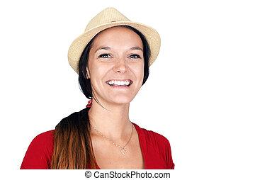 femme, chapeau, rire