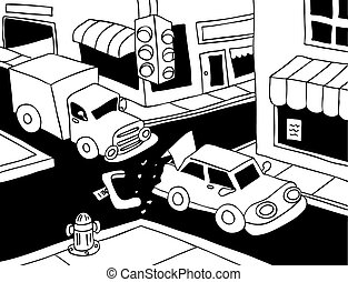 Car Accident Line Art - Truck read ends a car on the street.