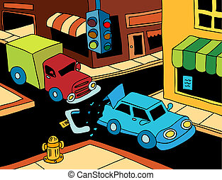 Car Accident - Truck read ends a car on the street