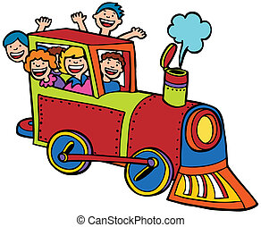 Cartoon Train Ride Color - Kids wave from a train