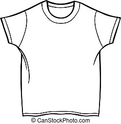 Tee Shirt - Line art of a shirt in a basic black and white...