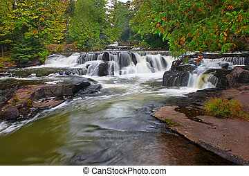 Bond Falls Waterfall in Michigan - Cascades of Bond Falls in...