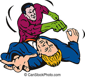 Superhero punching a man - Illustration of a superhero...