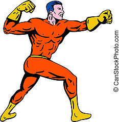 Superhero punching to the side - Illustration of a superhero...