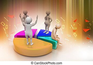 3d people with pie chart,  business competition
