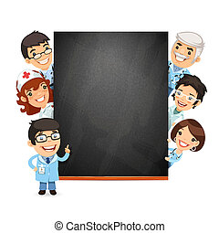 Doctors Presenting Empty Blackboard. Isolated on White...