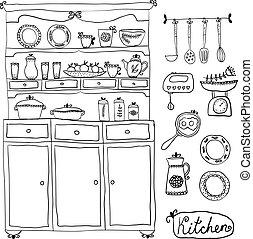Kitchen set in vector. Design elements of kitchen. - kitchen...