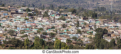 Bird eye view of ancient walled city of Jugol. Harar....