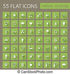Set of ecology nature flat icons