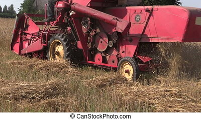 combine harvest wheat - Retro small combine harvester tresh...
