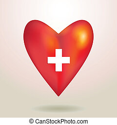 Red glossy shiny three-dimensional heart 3d on a white backgroun