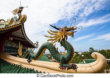 pagode, dragão, escultura, taoist, Templo, Cebu,...
