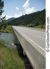 Highway Bridge - View along the guardrail of a highway...