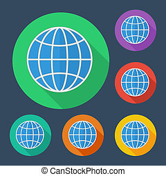 Earth globe icon with long shadow - vector illustration, six colors set.