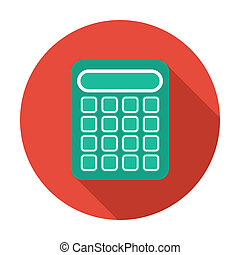 Single flat calculator icon with long shadow. Vector...