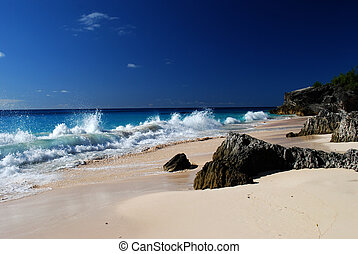Astwood Cove Beach - Crashing waves on Astwood Cove beach in...