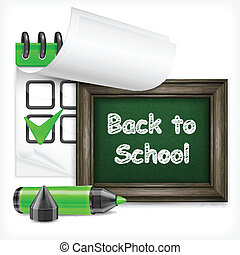 School blackboard and felt-tip pen - School blackboard with...