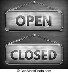 Iron sign hanging open closed