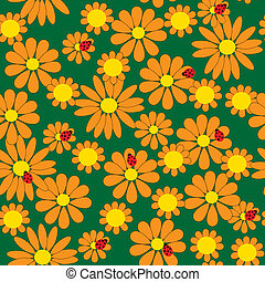 Seamless pattern with orange flowers - Seamless pattern with...