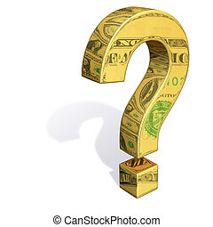Questioning the Dollar - A gold question mark with images of...