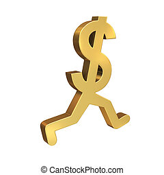Running Dollar - A gold dollar symbol with legs running by...