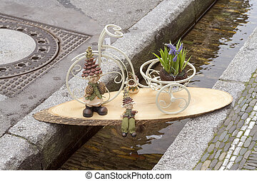 Decoration on a small canal in Freiburg. Europe. Germany