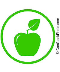 apple with green leaf in round frame
