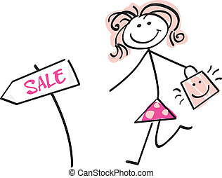 Doodle sale girl - Loving sale! Doodle vector character.