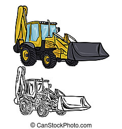 Excavator Loader - Vector illustration : Excavator Loader on...