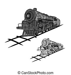 Steam locomotives - Vector illustration : Steam locomotives...
