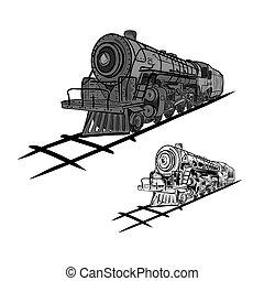 Steam locomotives - Vector illustration : Steam locomotives...