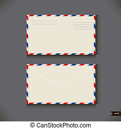 Two airmail envelope on gray background. Vector illustration