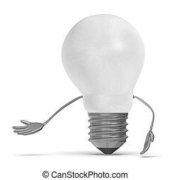 White tungsten light bulb character making inviting gesture...