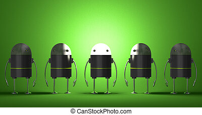 Row of robots, one of them with glowing head on green...