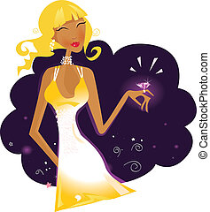 Rich girl - Blonde girl with ring. Vector Illustration
