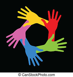 Colorful Five Hands Icon on black background