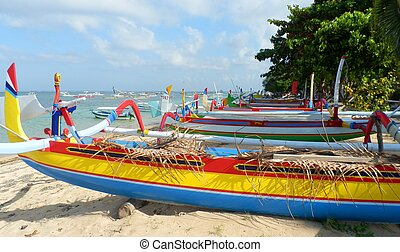 Traditional fishing boats on Sanur
