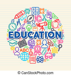 Education concept illustration - Back to school global icons...