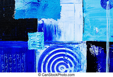 blue art background - blue abstract painting, artwork is...