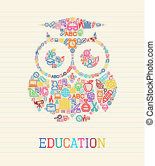 Education wisdom owl concept illust - Education and...