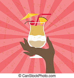 Illustration with glass of pina colada and hand.