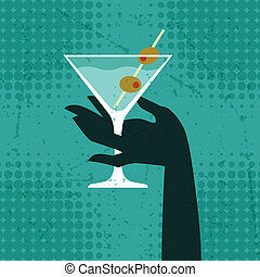 Illustration with glass of martini and hand