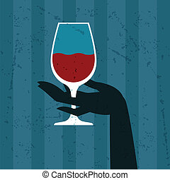 Illustration with glass of wine and hand