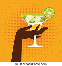 Illustration with glass of margarita and hand