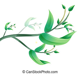 leaves - green leaves on the white background