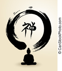 Zen circle and Buddha illustration - Enso Zen circle...
