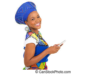 young african woman holding cell phone - happy young african...