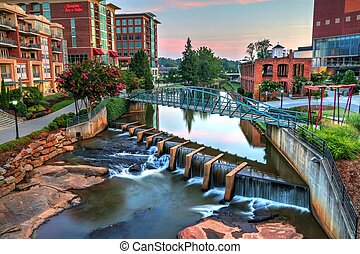 Sunrise on the Reedy River - The sun rises on Reedy River in...
