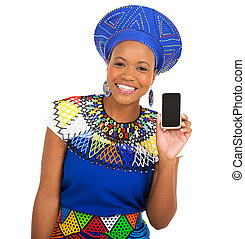 african girl in traditional clothes showing smart phone -...